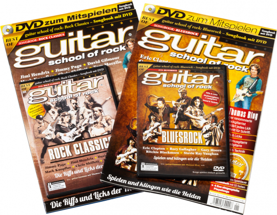 Guitar School of Rock Set. Rock Classics und Bluesrock. Songbooks mit DVDs.