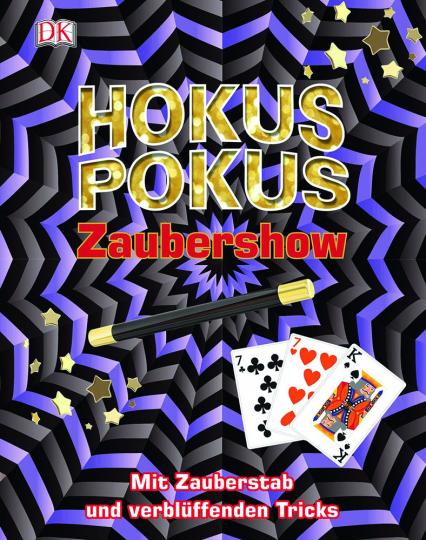 Hokuspokus Zaubershow. Mit Zauberstab und verblüffenden Tricks.