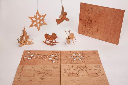 Holzpostkarten-Set »Frohe Weihnachten«.