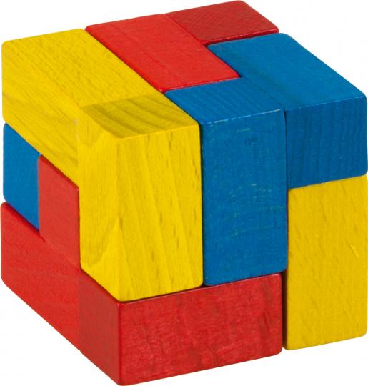 Holzpuzzle »Würfel«, farbig.