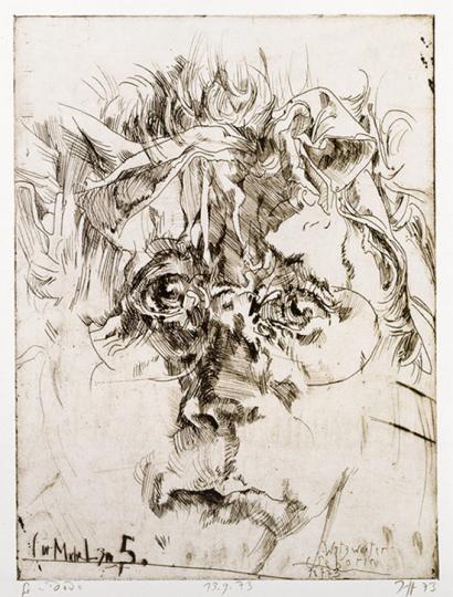 Horst Janssen Vorzugsausgabe Katalog und Radierung »Aus der Sammlung Michael Hauptmann«.