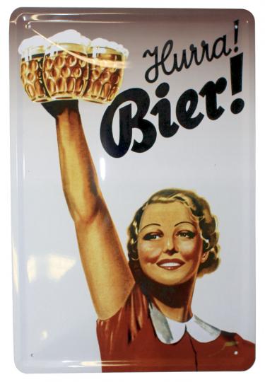 Blechschild »Hurra! Bier!«