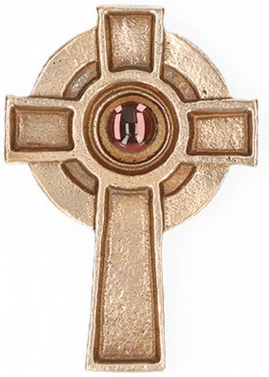 Irisches Kreuz - Bronze mit Lila Stein
