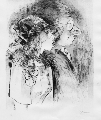 Jeanne Mammen. Kurfürstendammpaar. Lichtdruck nach dem Steindruck 1930. Signiertes Exemplar.