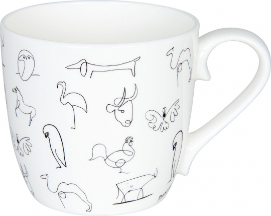 Kaffeebecher »Tierzeichnungen«, schwarzweiß.