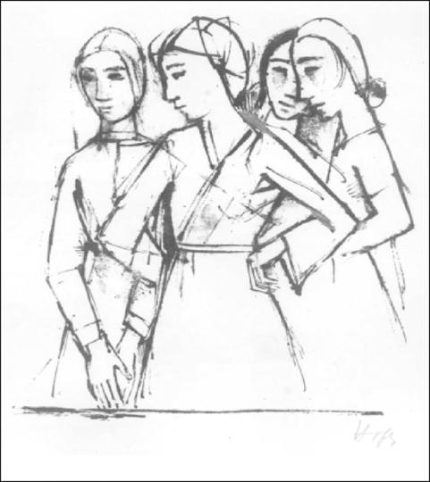 Karl Hofer. Vier stehende Mädchen.