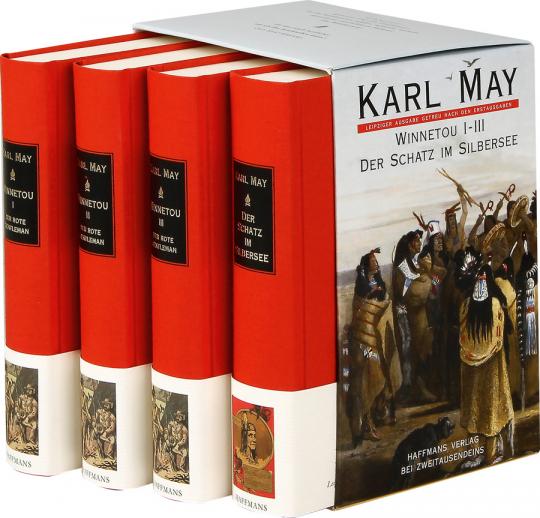 Karl May. Winnetou 1-3. Der Schatz im Silbersee. 4 Bde.