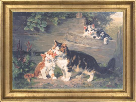 Katzenmutter mit drei Jungen Julius Adam (1852-1913).