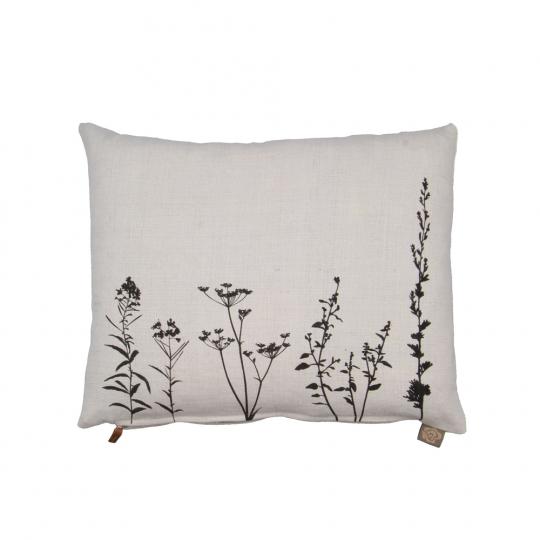 Kissen mit Botanik-Motiv. Aus antikem Leinen.