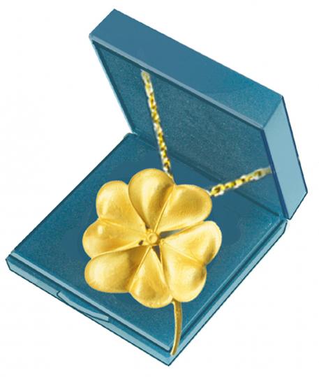 Kleeblatt-Anhänger - Silber, vergoldet