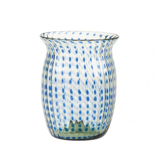 Kleine Vase mit blauen Punkten.