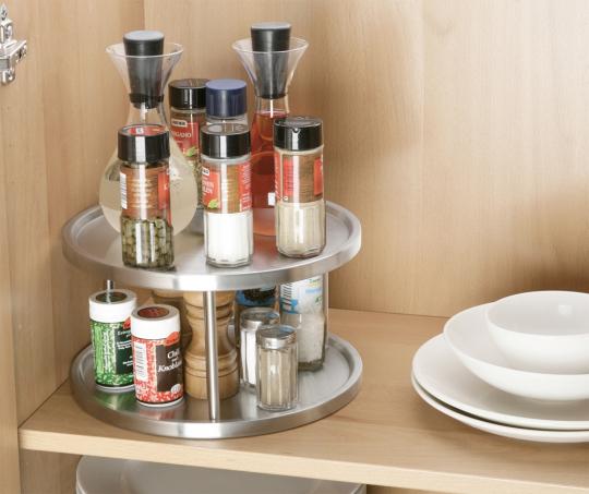 Küchen-Karussell aus Edelstahl, 2 Ebenen.