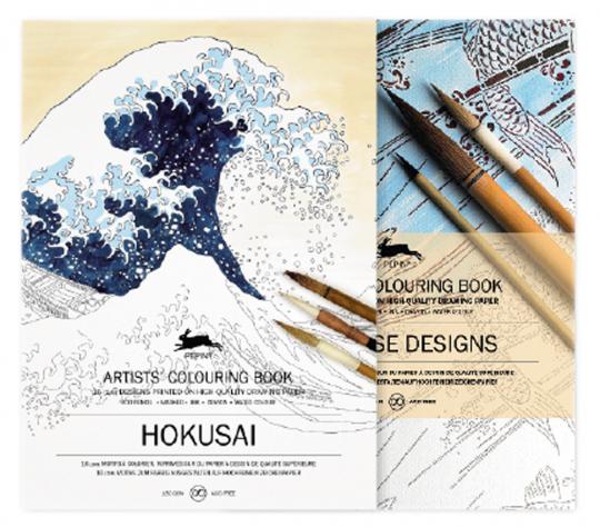 Künstler-Malbuch-Set »Japanisches Design« und »Hokusai«.