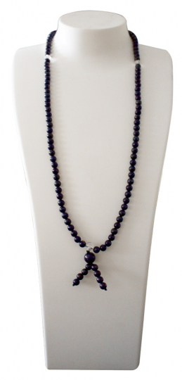 Lapis-Schmuck: Perlenkette mit Bergkristall