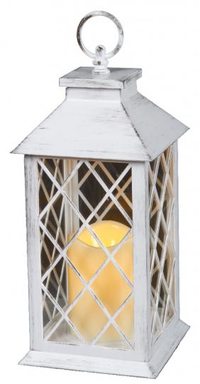 Laterne mit LED-Kerze, antikweiß.