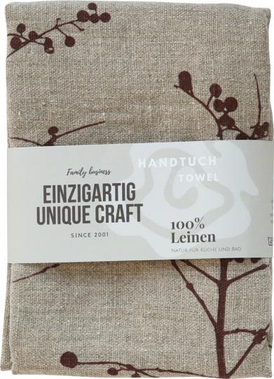 Leinen-Geschirrtuch »Beerenzweig«, naturfarben.
