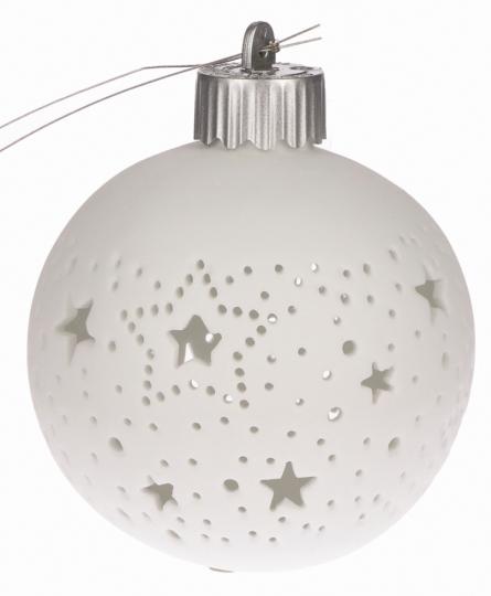 Leuchtende Christbaumkugel, kleine Sterne.