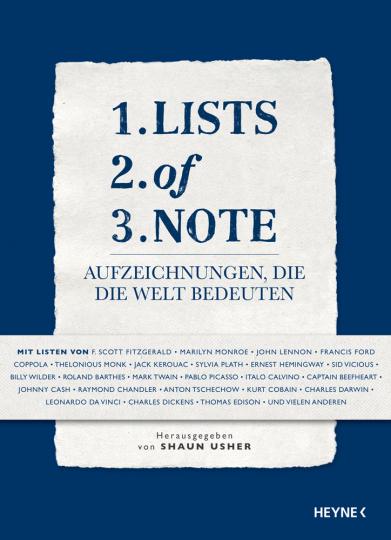 Lists of Note. Aufzeichnungen, die die Welt bedeuten.