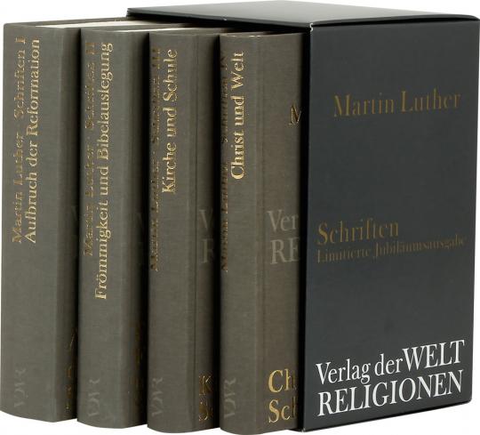 Martin Luther. Schriften. 4 Bände in Kassette. Limitierte Jubiläumsausgabe.