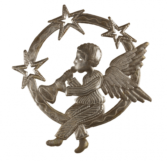 Metallornament »Engel mit Trompete«.