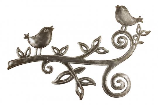 Metallornament »Zwei Vögel«.