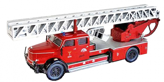 Metz DL 52 Krupp: Feuerwehrwagen mit Drehleiter. Modell 1:72.