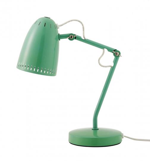 Mintgrüne Schreibtischlampe.