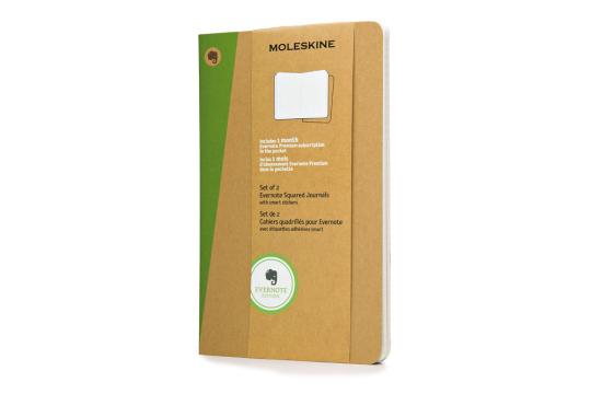 Moleskine Evernote Notizbücher beige, groß.
