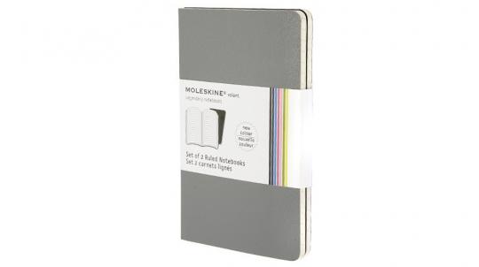 Moleskine Volant 2 Notizhefte grau liniert groß.