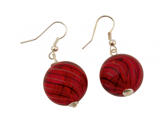 Murano-Ohrringe »Rote Perlen«.
