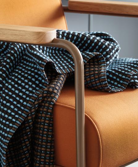 Norwegische Wolldecke »Lofoten«, blau.