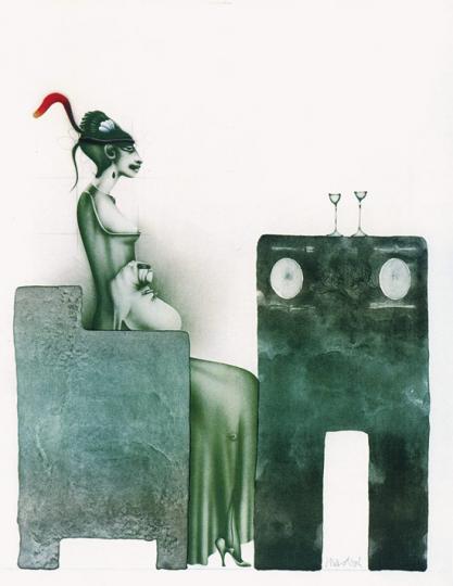 Paul Wunderlich. »Dame mit Hut und Hund bei Tisch«, 1980.