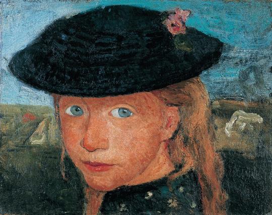 Paula Modersohn-Becker. Kopf eines kleinen Mädchens mit Strohhut, um 1905.
