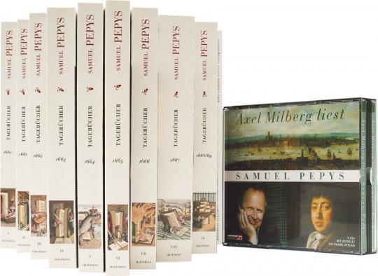 Pepys Paket. Sämtliche Tagebücher 1660-1669. 9 Bände mit 3 CDs.