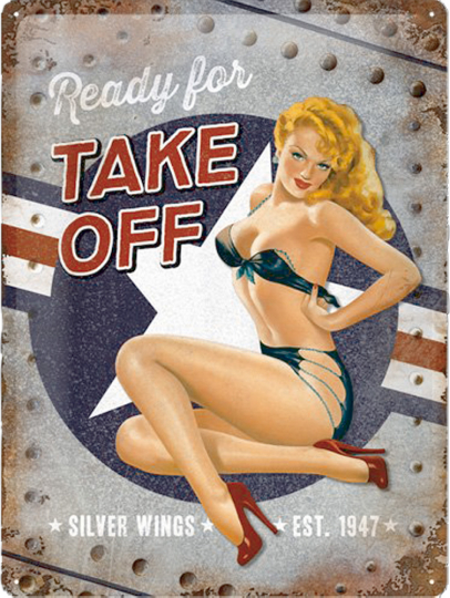 Pin-Up Blechschild: Ready for Take Off
