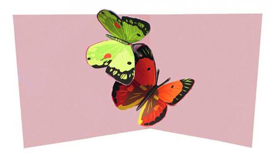 Pop-up-Grußkarte »Zwei Schmetterlinge«.