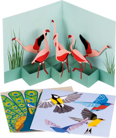 Pop-up-Grußkarten-Set »Die Vögel«.