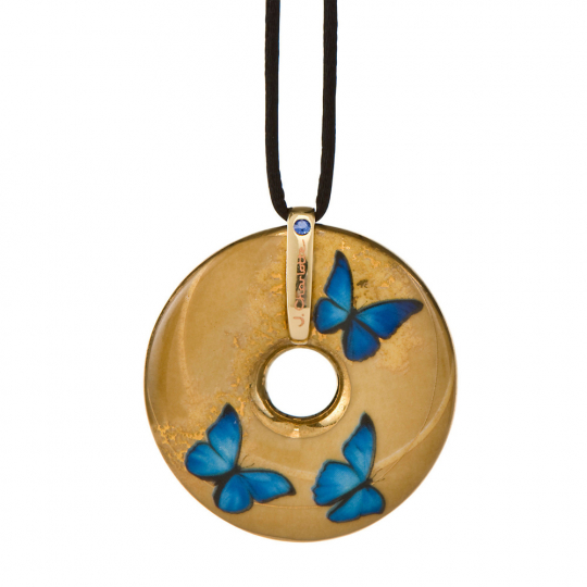 Porzellan-Anhänger »Schmetterlinge«, blau.