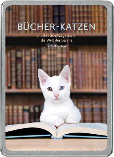 Postkarten Bücher-Katzen und ihre Streifzüge durch die Welt des Lesens.