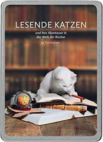 Postkarten Lesende Katzen und ihre Abenteuer in der Welt der Bücher.