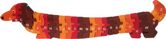 Puzzle »Hund A-Z«, rot und braun.