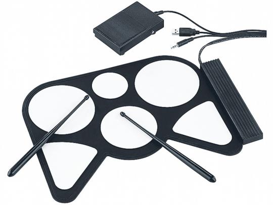 Q-Sonic Elektronisches Midi-USB-Schlagzeug + 2 Fußpedale, aufrollbar