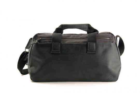 Reisetasche aus Materialmix »Waxcan«, schwarz/schwarz.