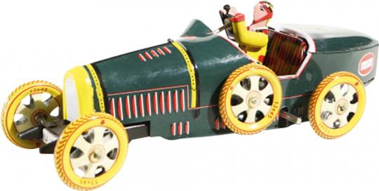 Rennwagen »Bugatti« aus Blech, grün.