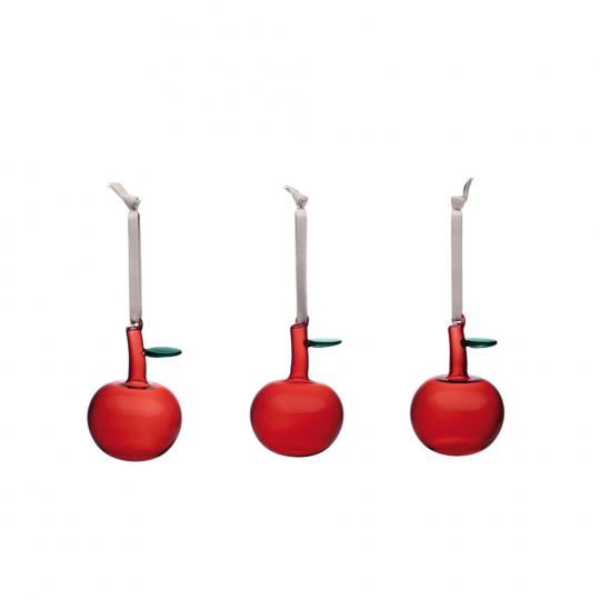 Rote Glasäpfel im 3er Set.