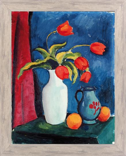Rote Tulpen in weißer Vase. August Macke (1887-1914).