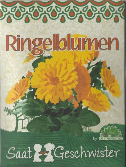 Saatgut-Set Ringelblumen und Stockrosen.