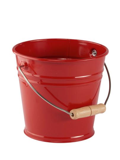 Sandeimer aus Metall, rot.