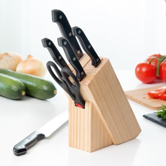 Scharfes Messerset mit Holzblock, 6-teilig.