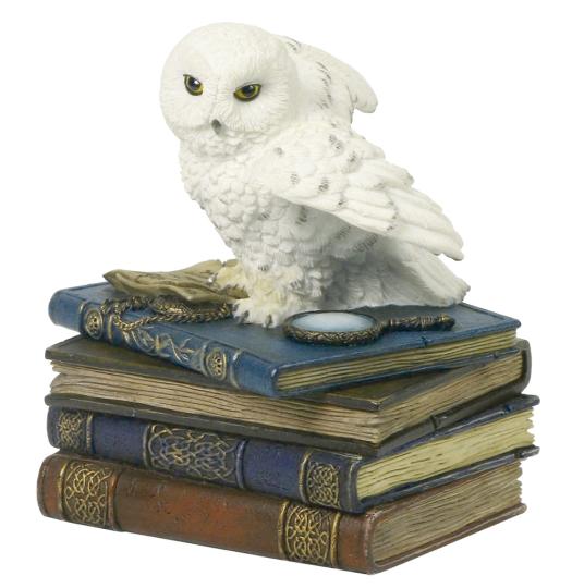 Schmuckbox Schnee-Eule auf Bücherstapel
